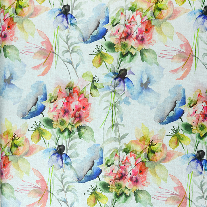 Яркие Портьеры. Лен Арт. DG9569-01A с цветами