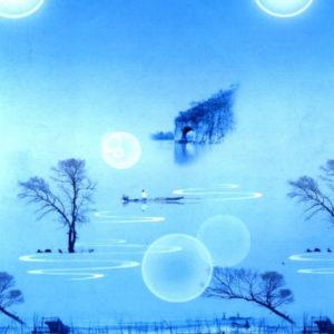 ролл шторы фото пейзаж синий