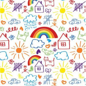 ролл-шторы детские радуга, солнышко, домик