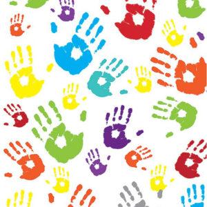 ролл-шторы детские разноцветные ладошки