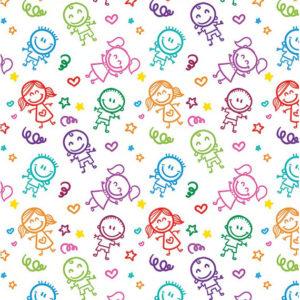 ролл-шторы детские разноцветные человечки